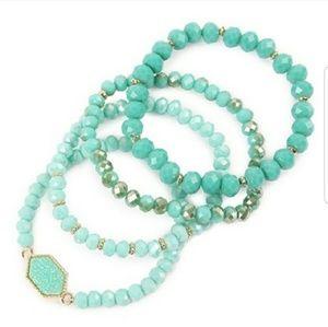 Jewelry - Mint Glass Bead Druzy Bracelets